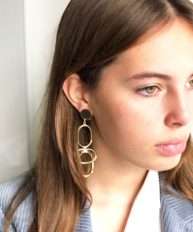 Golden long clip earrings WAY XL - Isabelle Michel