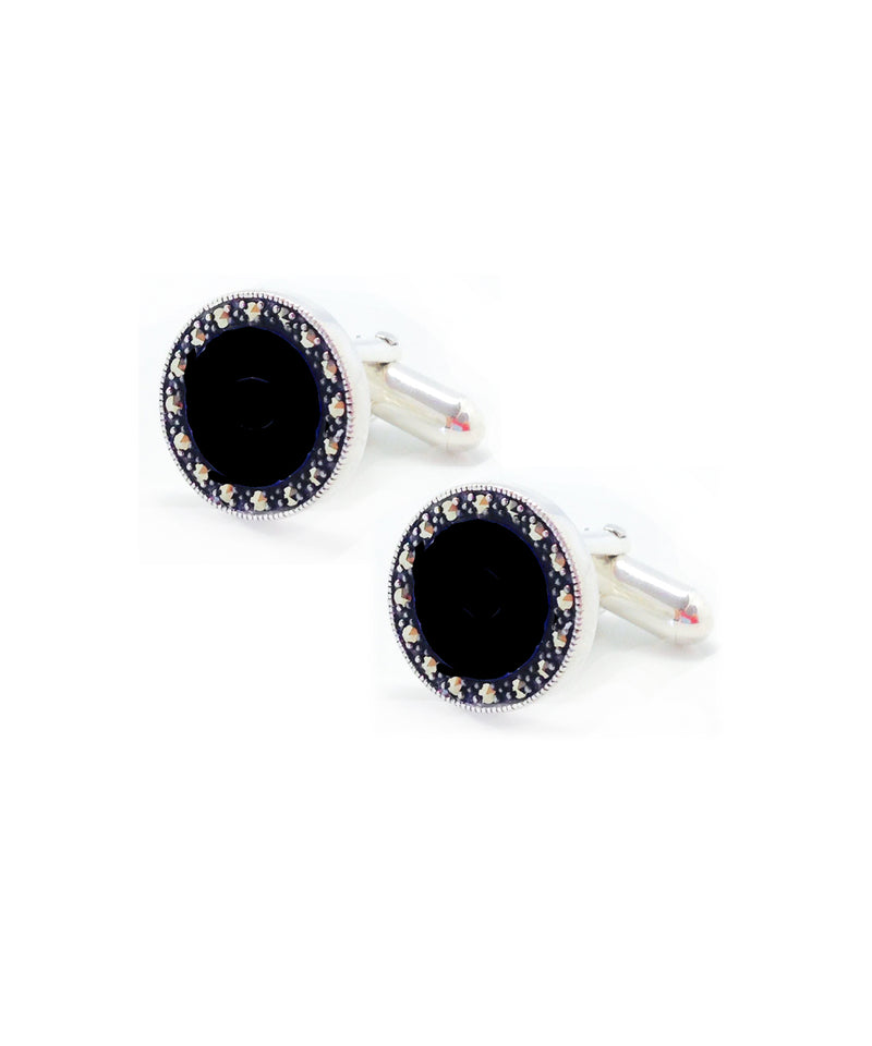 Onyx and marcasite cufflinks