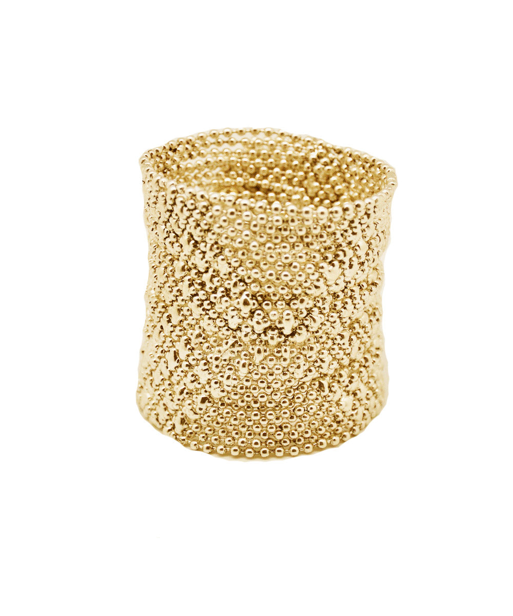 Gold metal mesh cuff bracelet - Editions LESSisRARE Bijoux