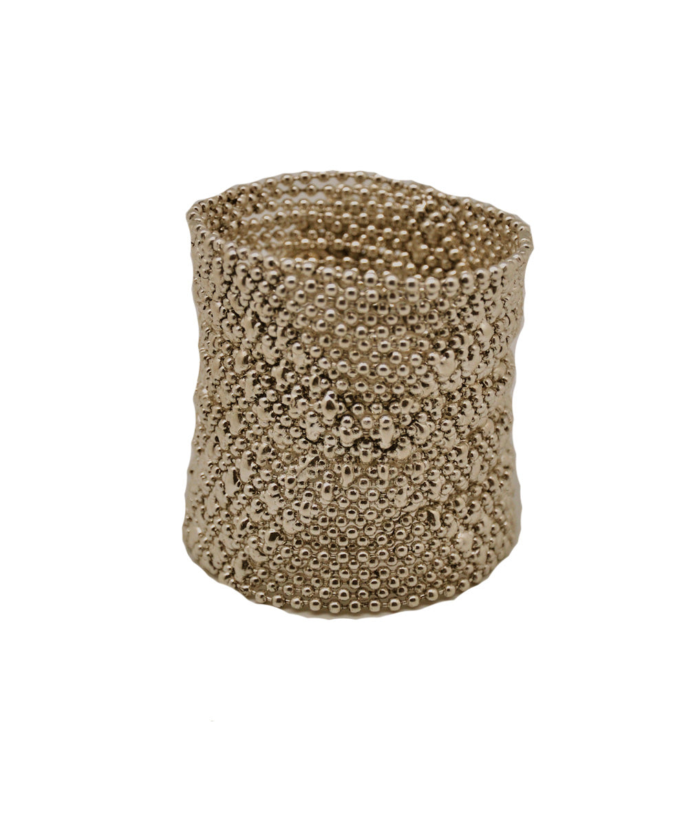 Old gold mesh cuff bracelet - Editions LESSisRARE Bijoux