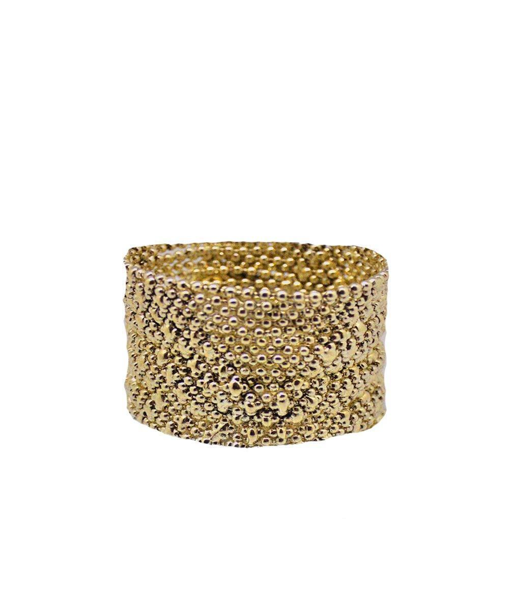 Gold metal mesh bracelet - Editions LESSisRARE Bijoux
