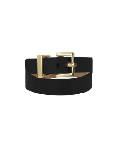Bracelet double tower in black leather creative metal buckle Maison Boinet