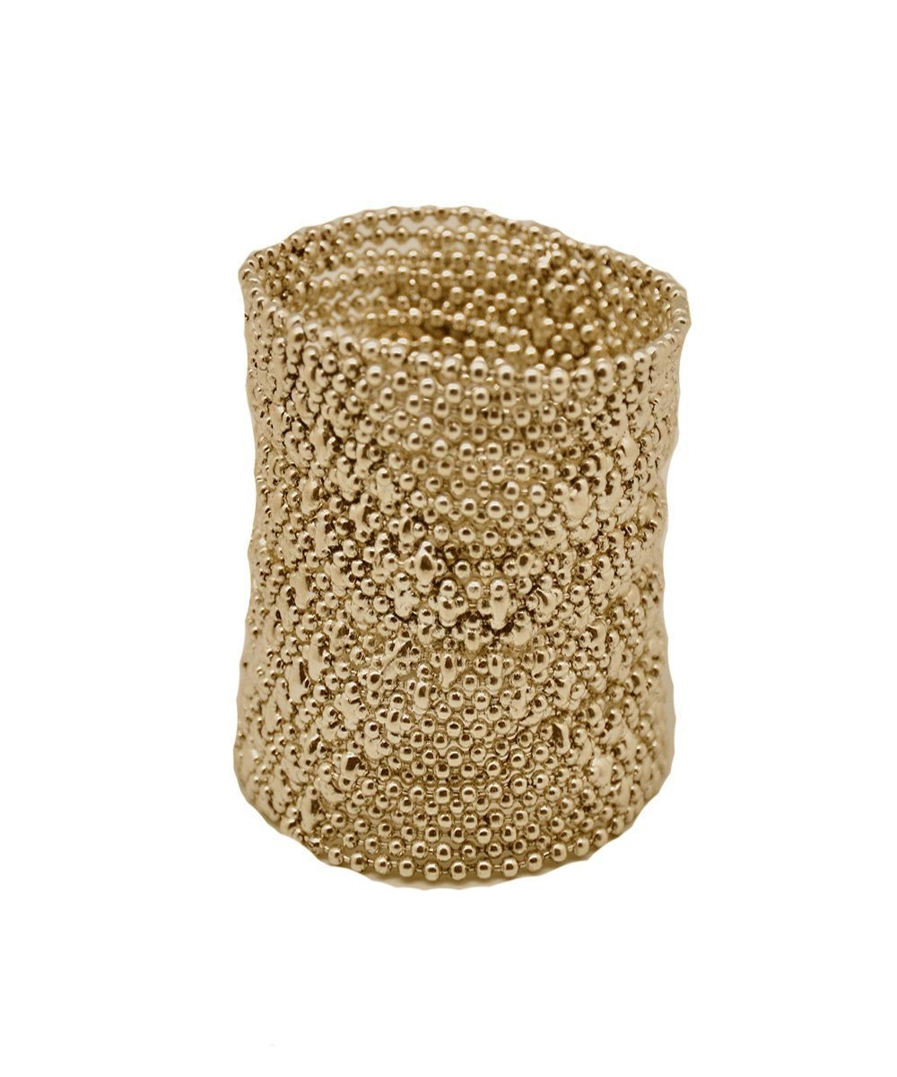 Large cuff bracelet in old gold metal mesh - Editions LESSisRARE Bijoux