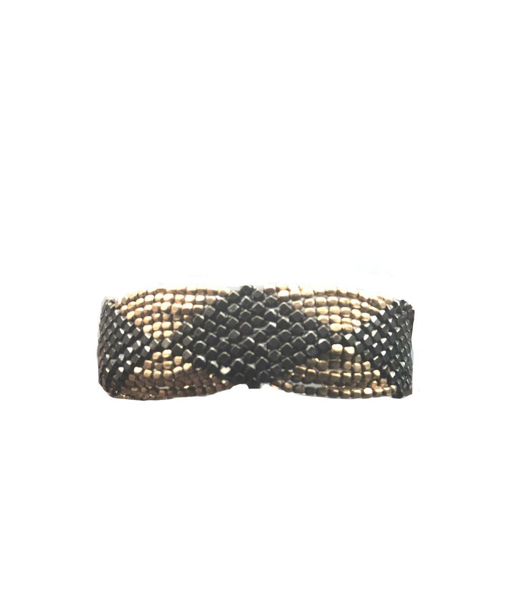 Gold and black knit bracelet - Editions LESSisRARE Bijoux
