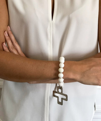 large-bracelet-white pearls-cross pendant- LESSisRARE Editions Jewelry worn