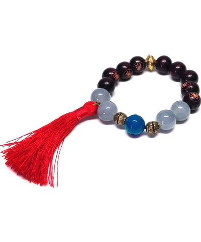jewels-of-mala bracelet-mala-Tibetan-agate-gray-and-blue tassel