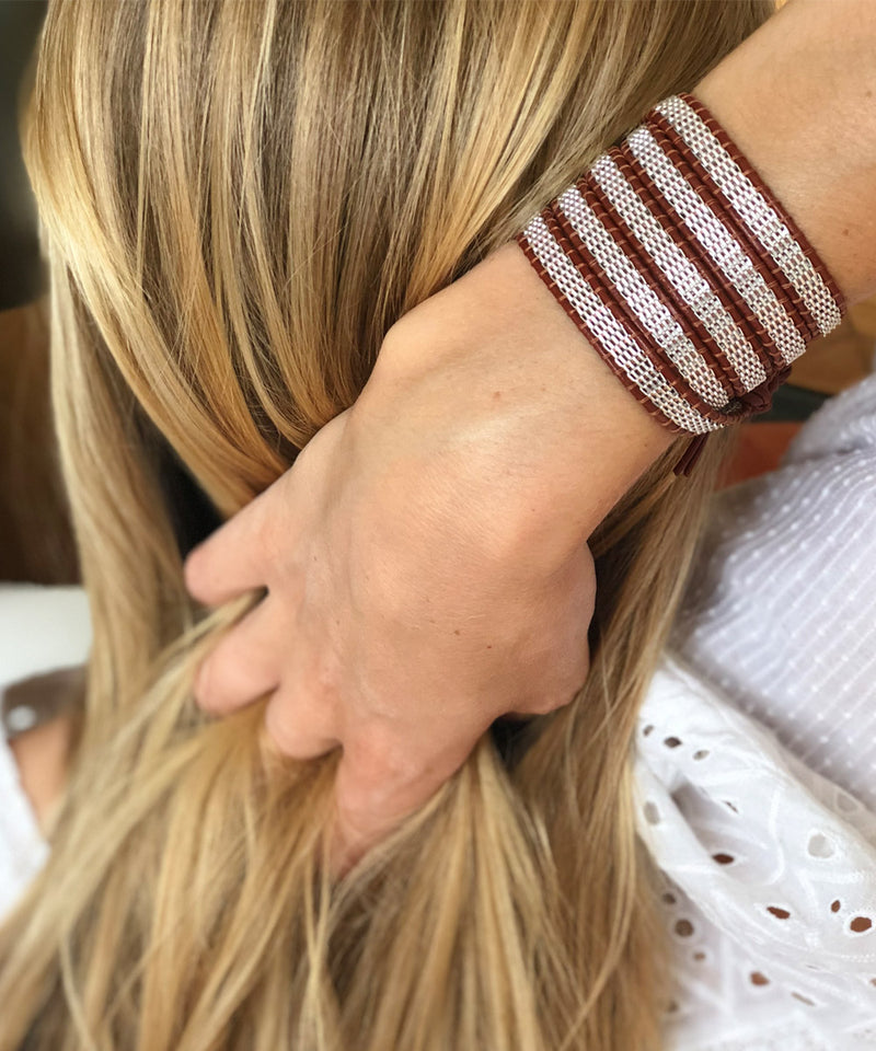 Wrap bracelet in silver mesh on brown leather - Nakamol