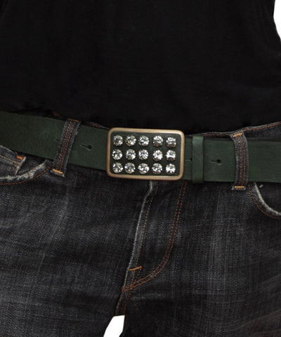 Ronald Pineau-leather-belt-green-and-Swarovski-crystal-scope