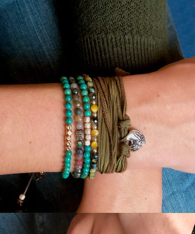 Bracelet faceted silver beads and tiger eye Stardust - Catherine Michiels