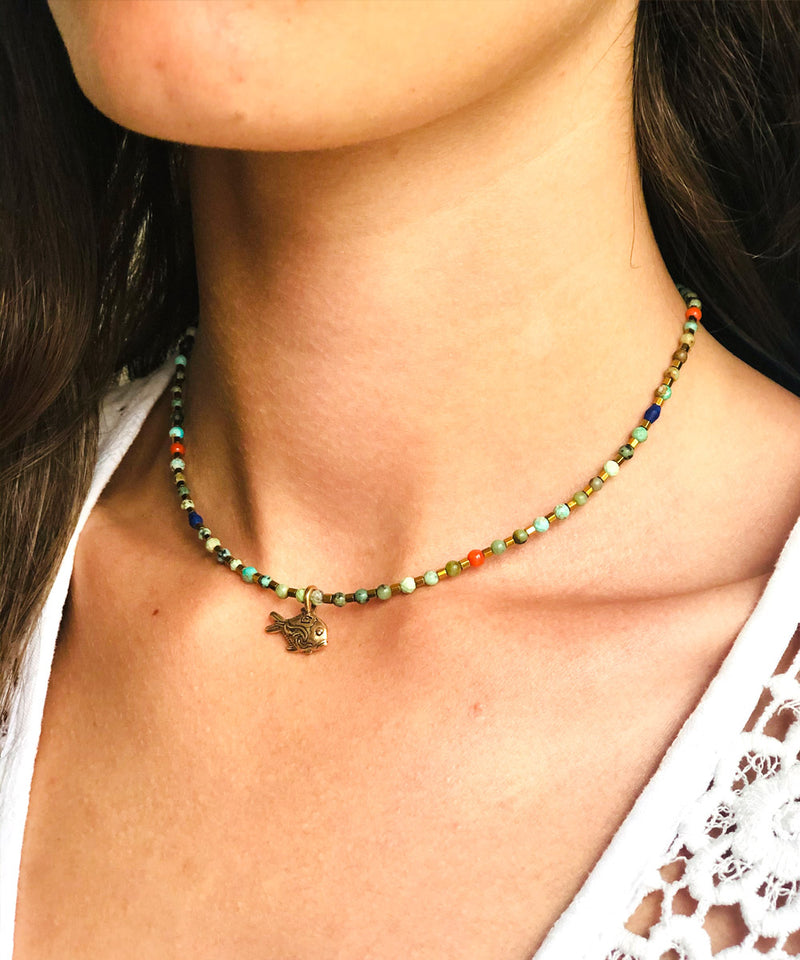 Collier Keola turquoises africaines - Catherine Michiels