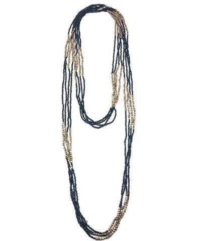 Necklace black and gold seed beads - Fonsi