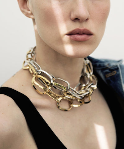 necklace by isabelle michel war chokers worn together