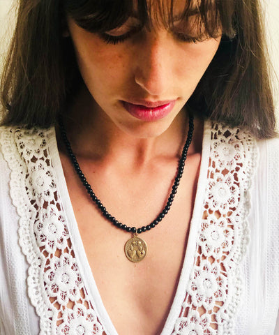 Wild 2 necklace in bronze and sapphire, ebony pearls - Catherine Michiels