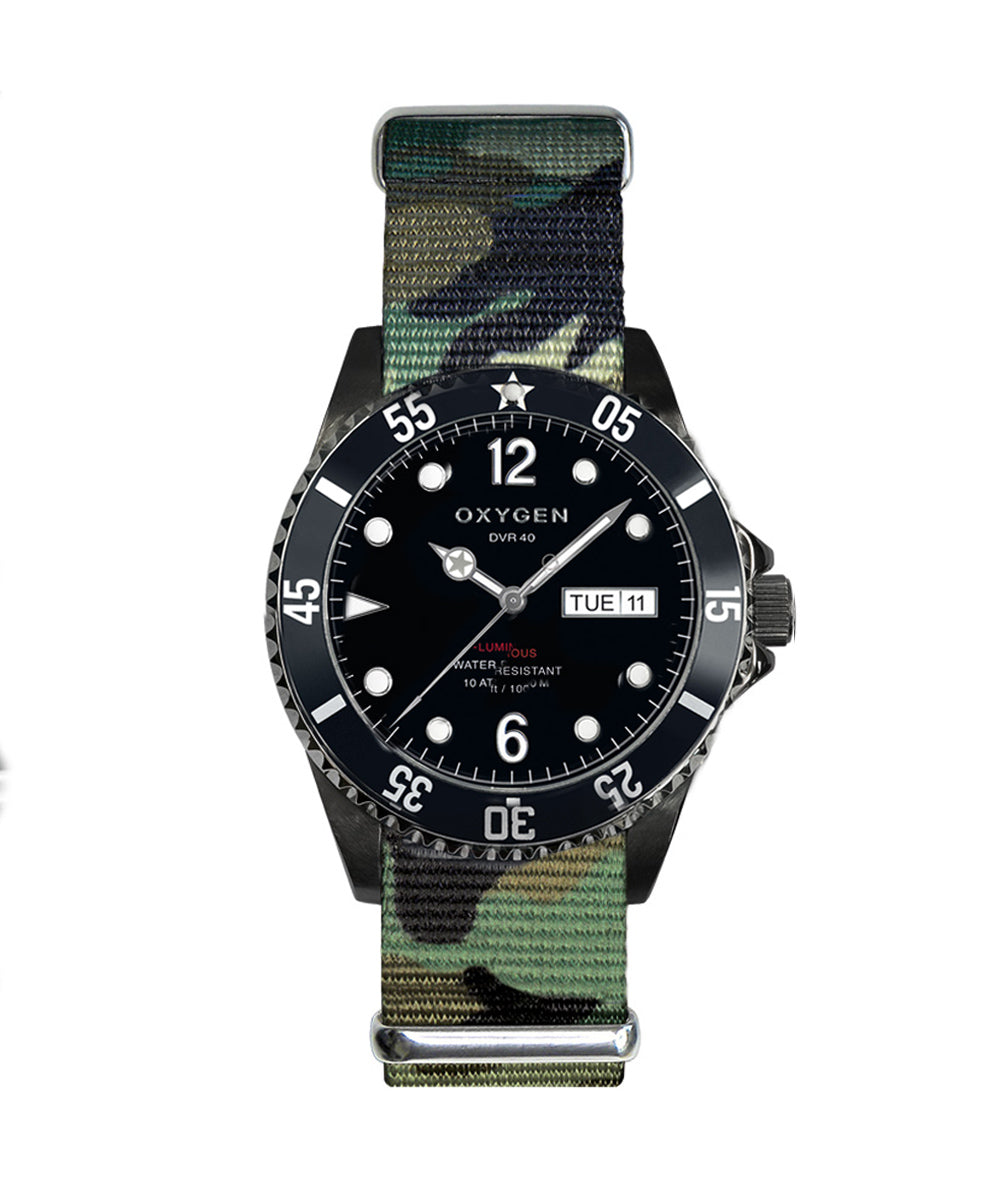 Montre Exchange Diver Moby Dick black 40 bracelet army- oxygen watch