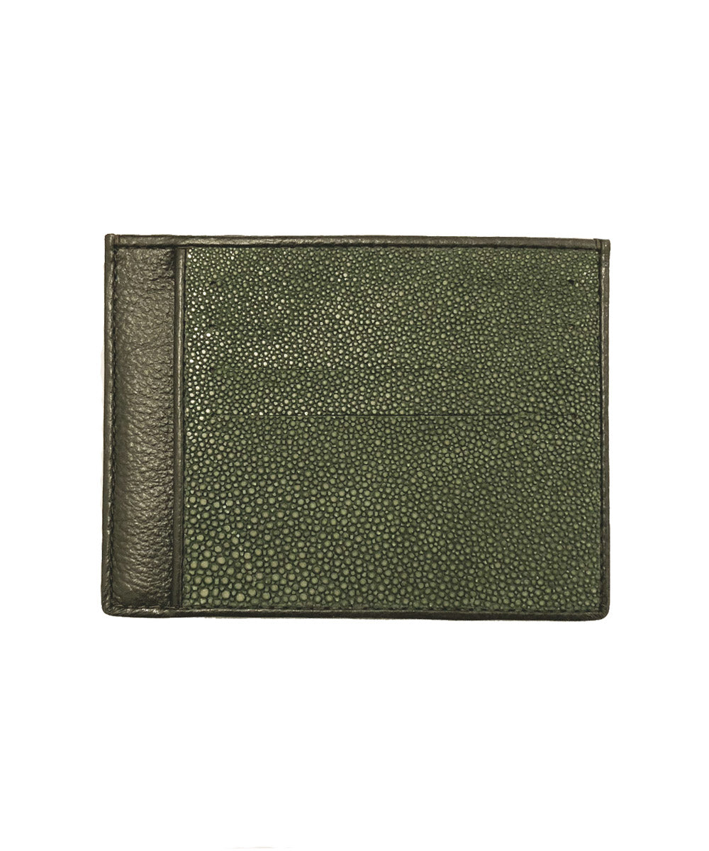 Green card holder in front shagreen