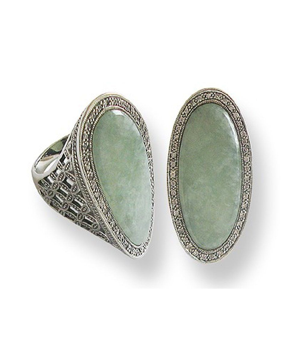 Elongated jade ring, silver and marcasite creator art deco