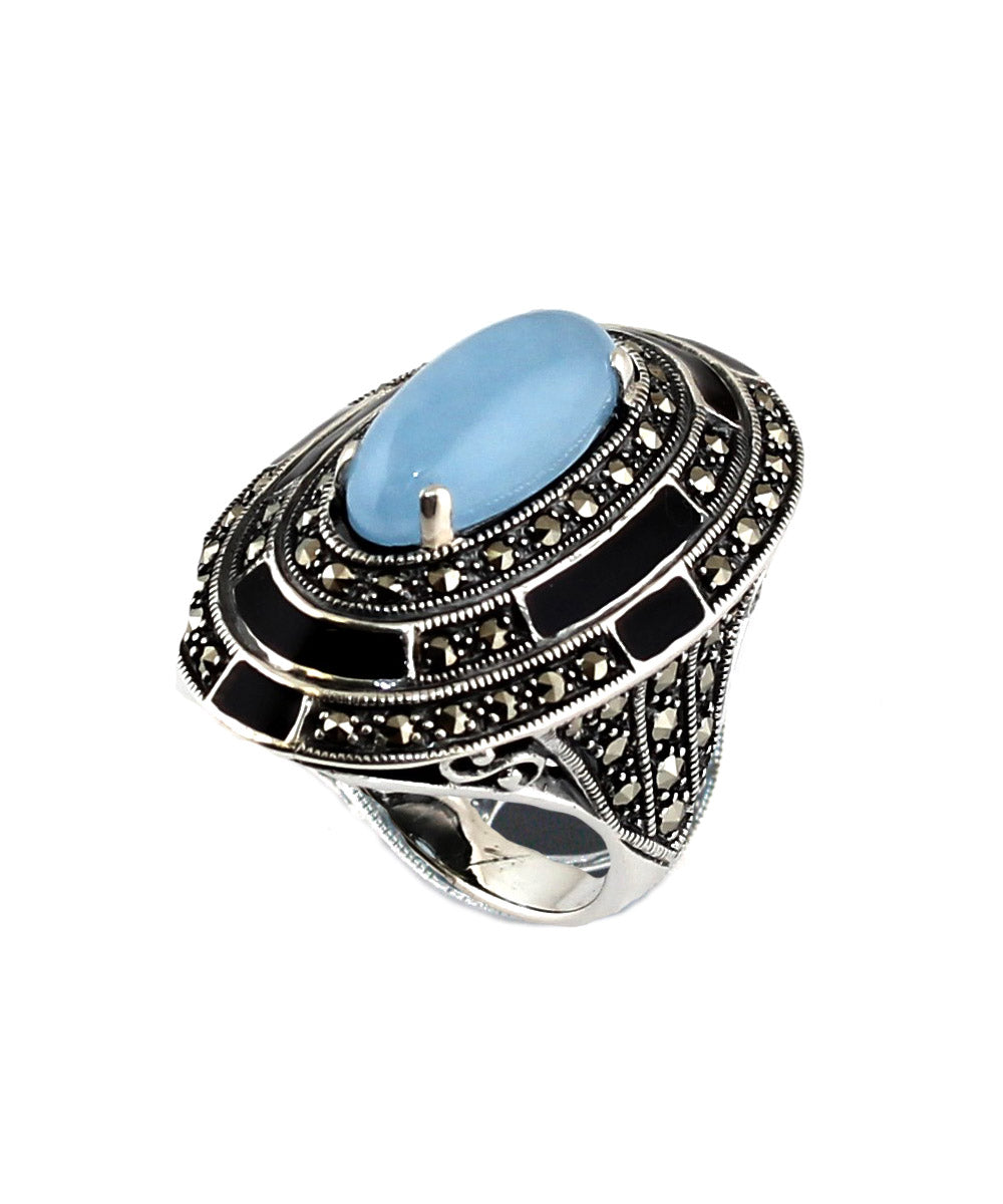 Blue jade oval ring, marcasites, enamel and silver