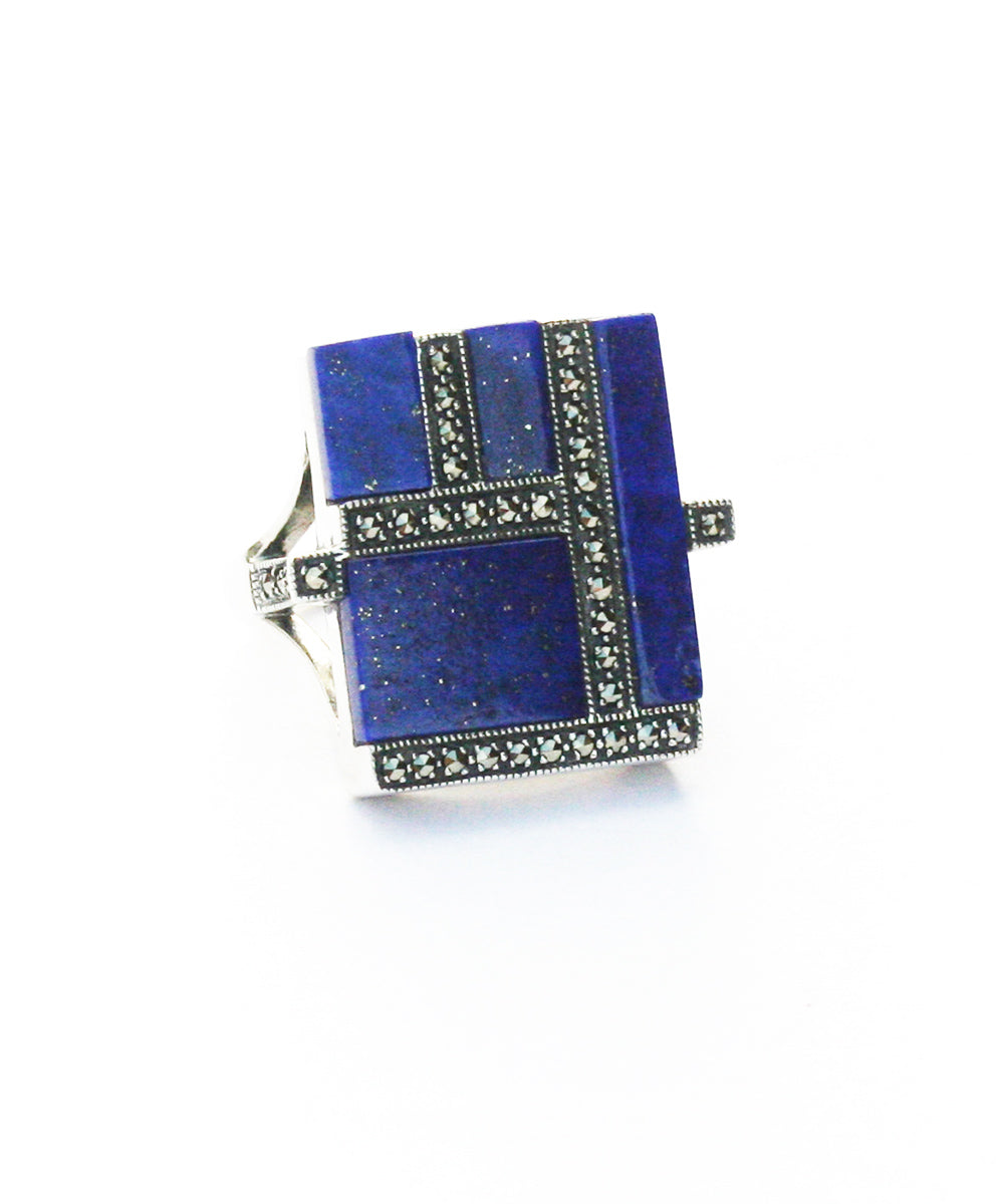 Lapis lazuli marcasite ring and silver art deco designer