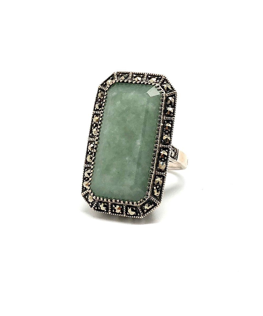 Rectangular jade ring in silver and marcasite creator art deco