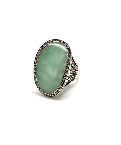 Art deco jade ring in silver and marcasites