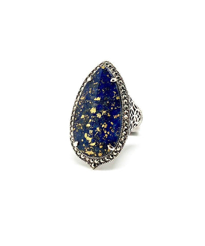 Oval lapis lazuli ring, marcasites and silver profile