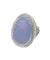 Large cabochon ring in lavender blue, silver jade and art deco marcasites