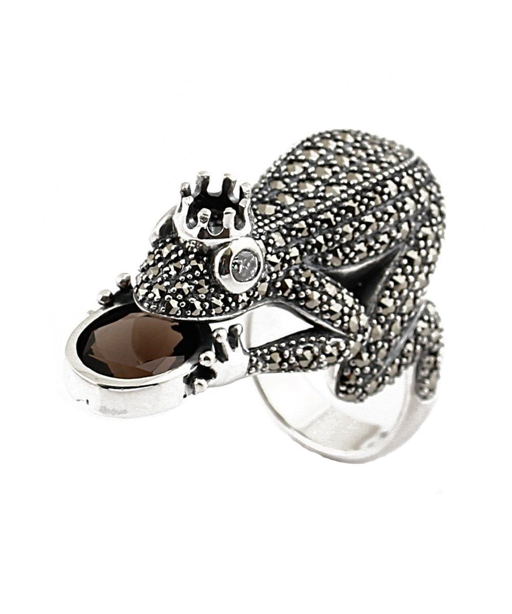 ring-frog-silver and smoky quartz art deco designer