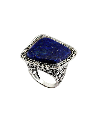Large square lapis lazuli ring, silver and marcasites