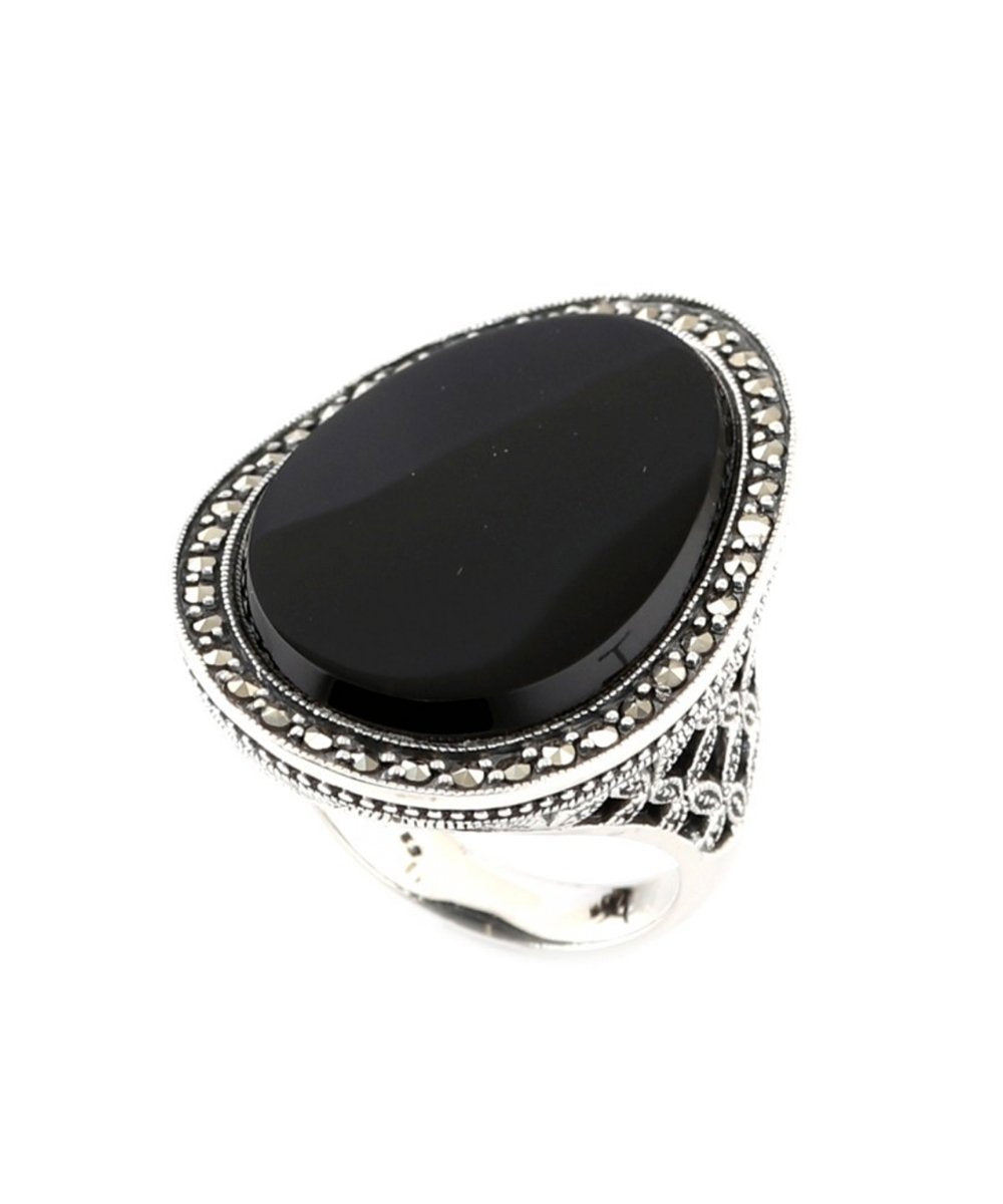 Big silver onyx and marcasite ring - Metron
