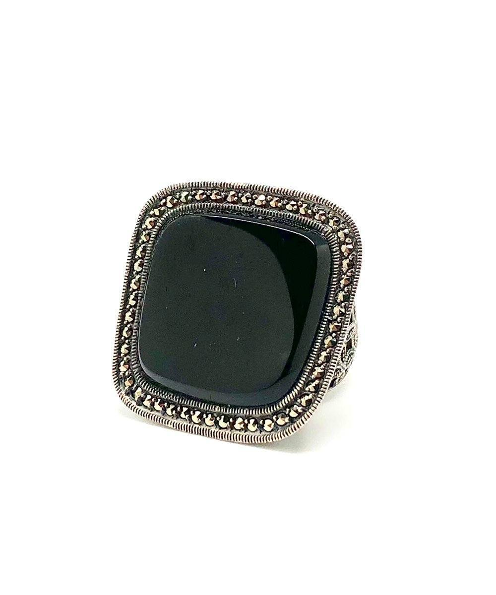 Big ring onyx square, silver and marcasites - Metron