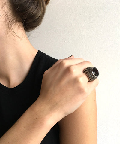 Large cabochon ring of smoked quartz, silver and marcasites in art deco style
