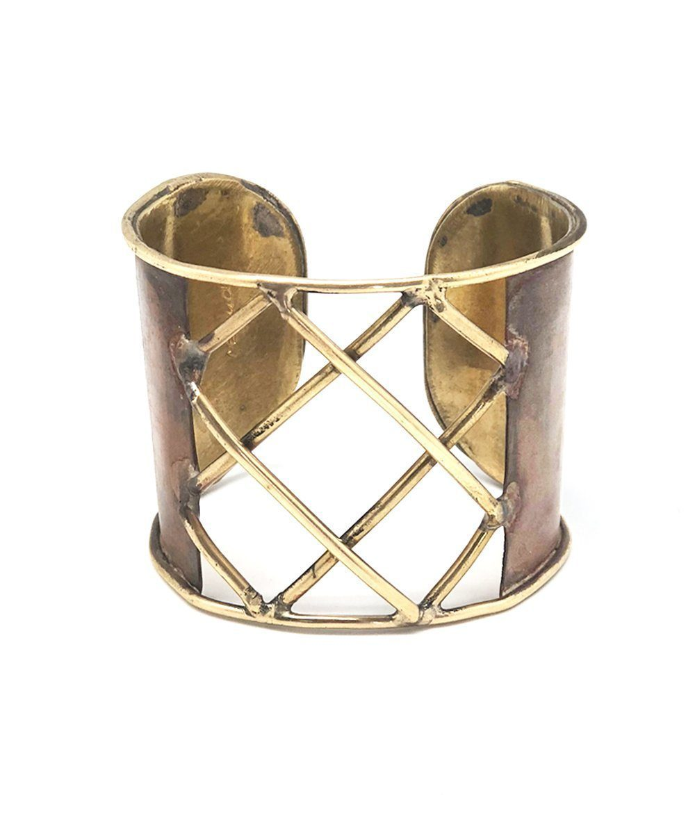 Arisztid Szendy cuff-bronze-trellis-brown