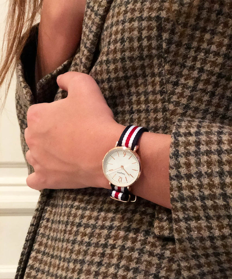 "Duo Montre ""Frenchic"" 32 mm cuir et tricolore"