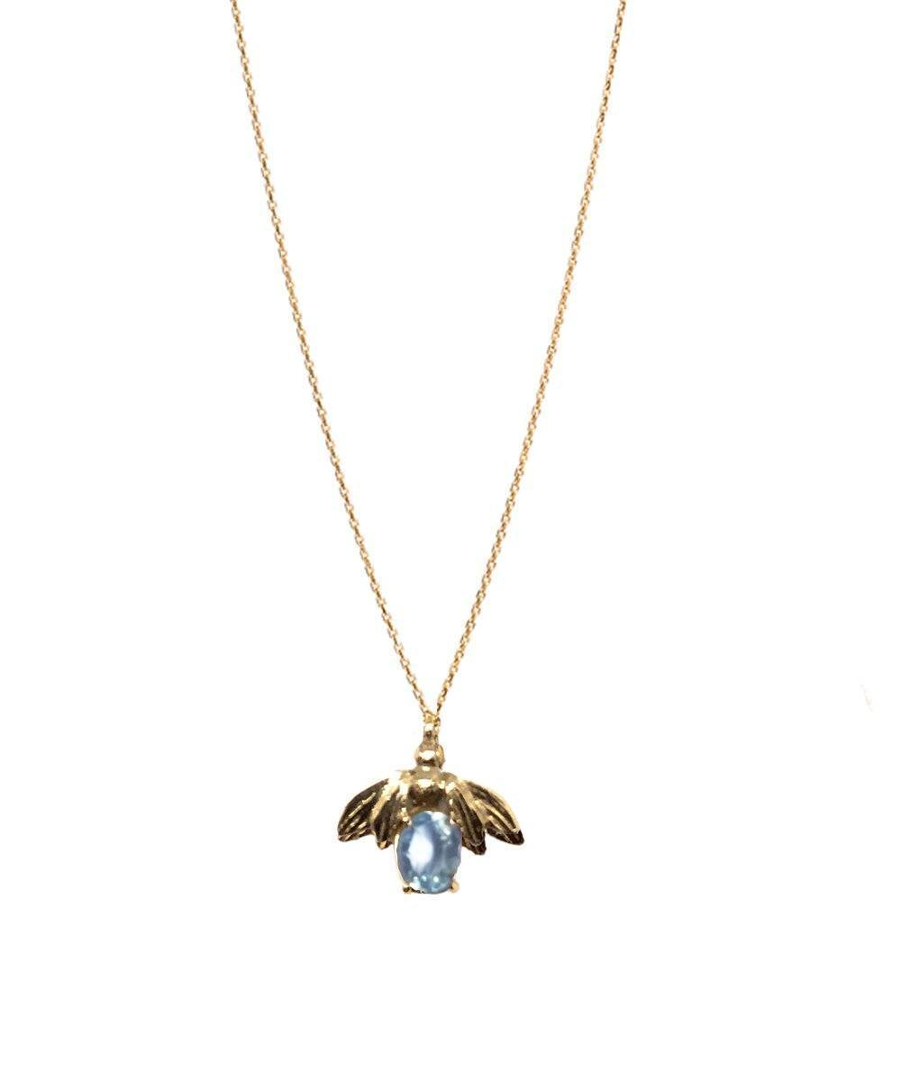 Bee pendant in gold and blue topaz - Lara Curcio Jewelry