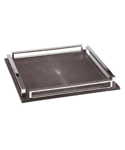 Large square tray in shagreen and chrome - Bhome