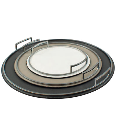 Custom round flat leather and chrome tray