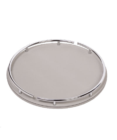 Custom round leather and chrome tray