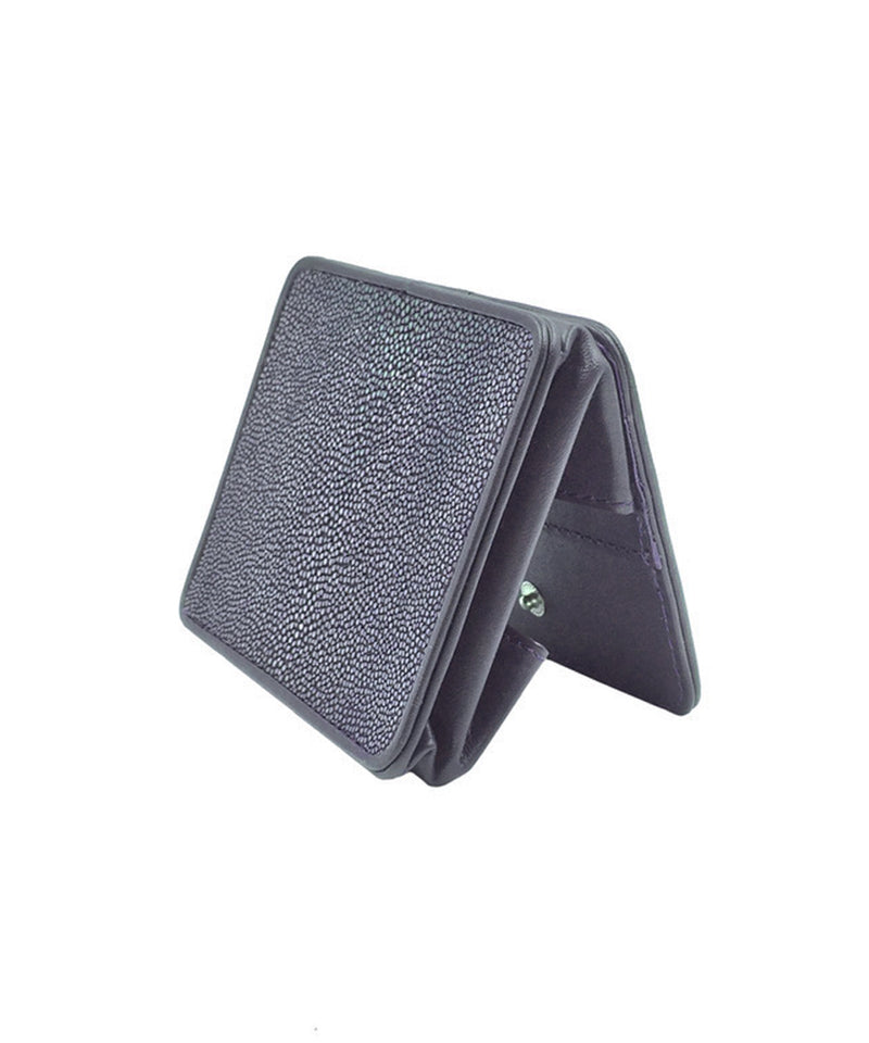 Midnight blue shagreen coin purse Size M - Galerie Galuchat