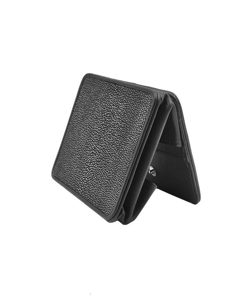 Black shagreen coin purse Size M - Galerie Galuchat