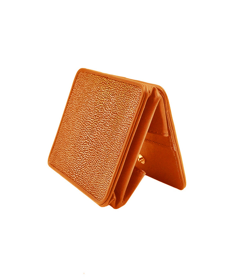 Orange shagreen coin purse Size M - Galerie Galuchat
