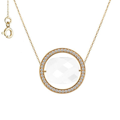 paola zovar gold necklace and diamond white agate stone