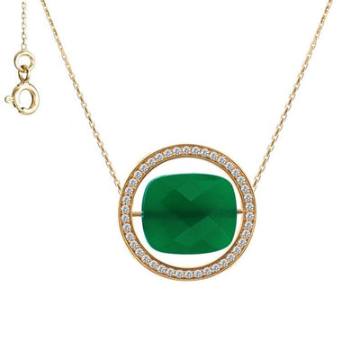 paola zovar collier or diamant Pierre onyx vert