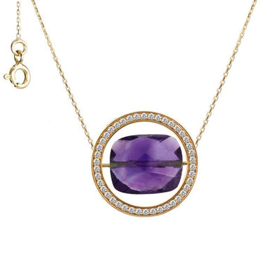 paola zovar gold and diamond amethyst necklace