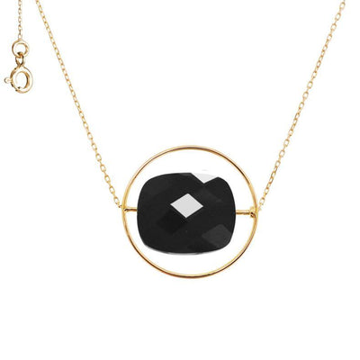 paola zovar necklace gold stone square black onyx