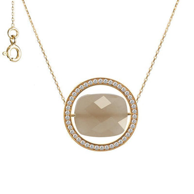 paola zovar necklace gold diamond moonstone chocolate