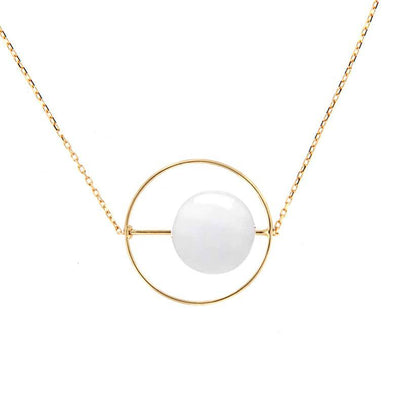 paola zovar necklace gold stone agate white