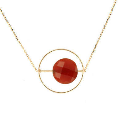 paola zovar collier or Pierre ronde onyx rouge