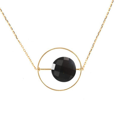 paola zovar round gold necklace round black onyx stone