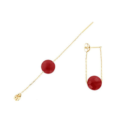 paola zovar boucle d'oreille or Pierre onyx rouge