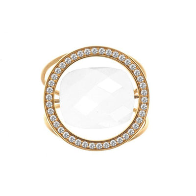 paola zovar gold ring and diamond white agate stone